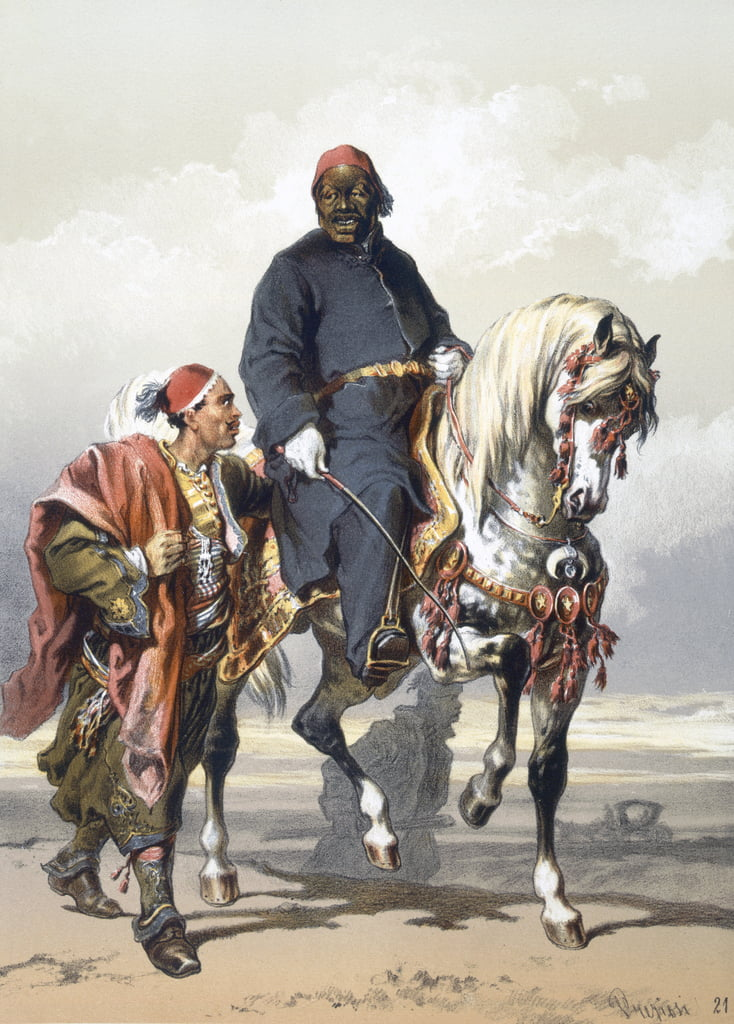 Eunuch of the Seraglio on a fine Arab horse, 1865  by Amadeo Preziosi