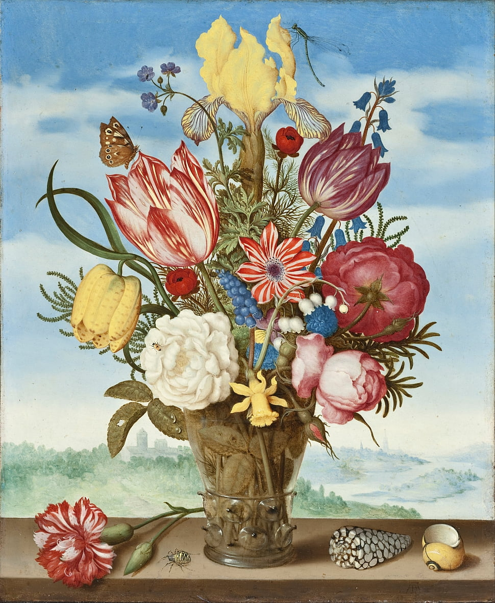 Bouquet of Flowers on a Ledge by Ambrosius the Elder Bosschaert