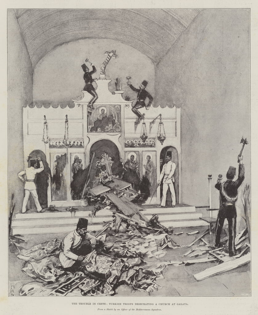 The Trouble in Crete, Turkish Troops desecrating a Church at Galata  by Amedee Forestier