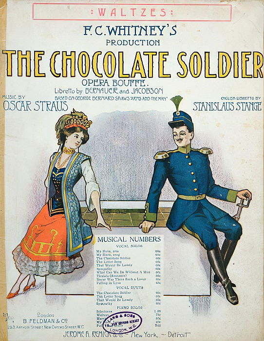 Cover of Score of The Chocolate Soldier, Operetta by Oscar Straus, published in New York, c.1910  by American School