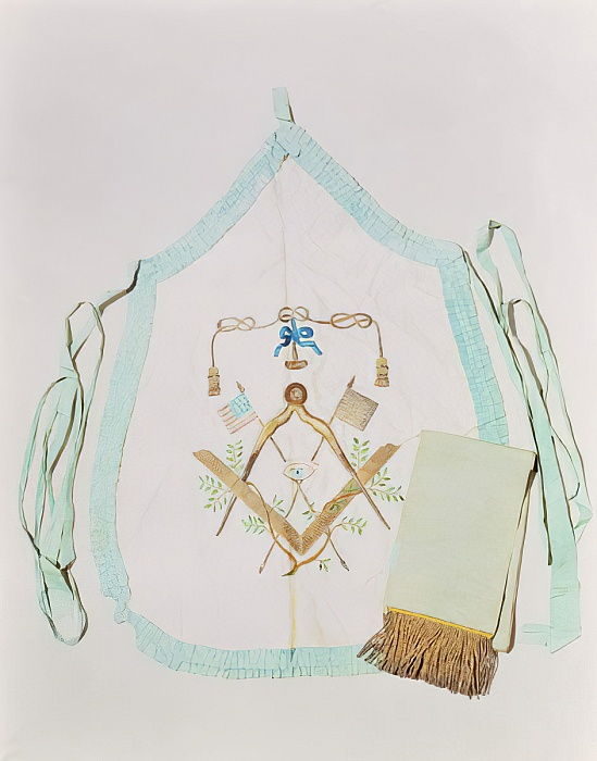 Masonic apron and sash, 1770-1800 (silk & metallic thread) by American School