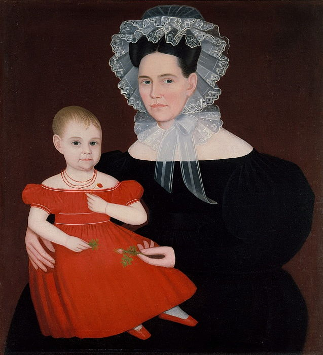 Mrs. Mayer and Daughter, 1835-40.  by Ammi Phillips