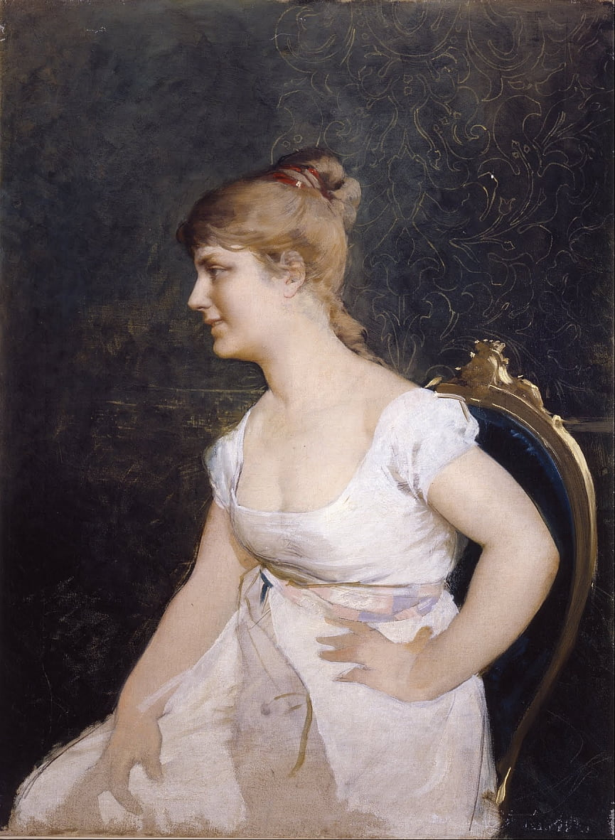 Portrait of a Young Lady by Amos Cassioli