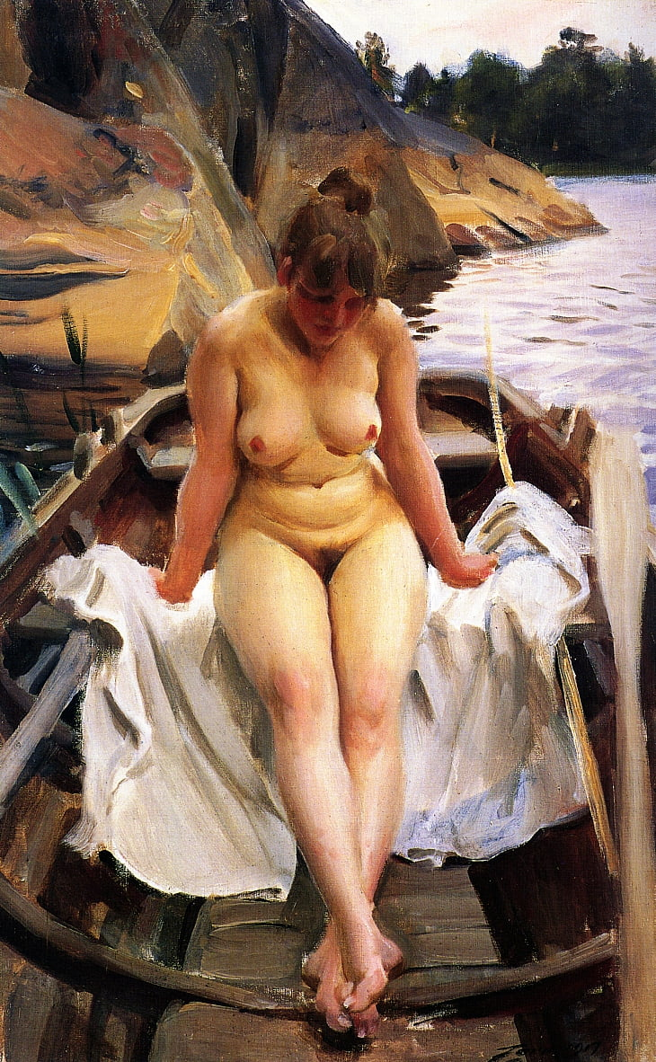 In Werners Rowing Boat by Anders Leonard Zorn
