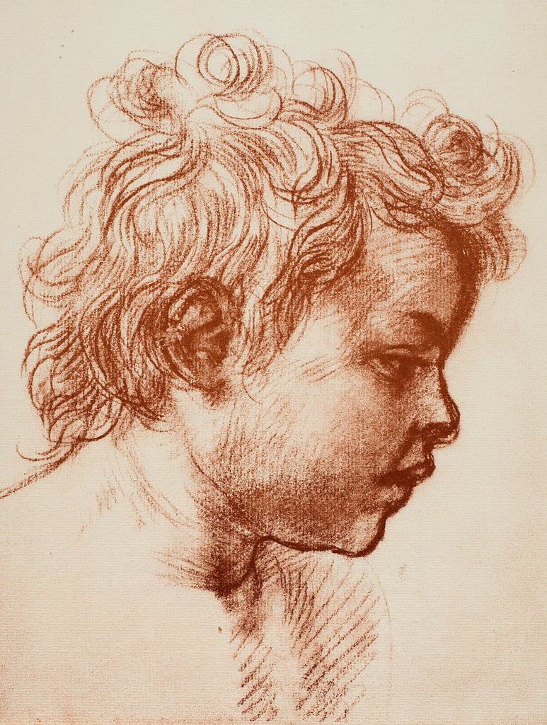 Study for the head of St. John (child) of the Holy Family, Palatina Gallery, Pitti; drawing by Andrea del Sarto, Gabinetto dei Disegni e Stampe, Uffizi Gallery, Florence by Andrea del Sarto