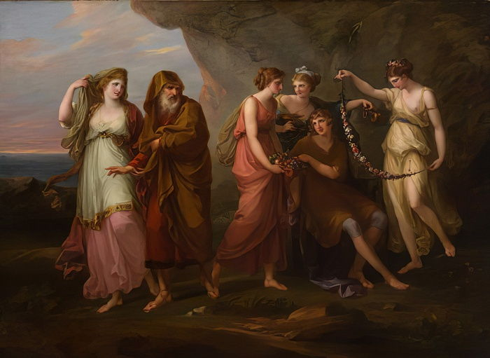 Telemachus and the Nymphs of Calypso, 1782  by Angelica Kauffmann