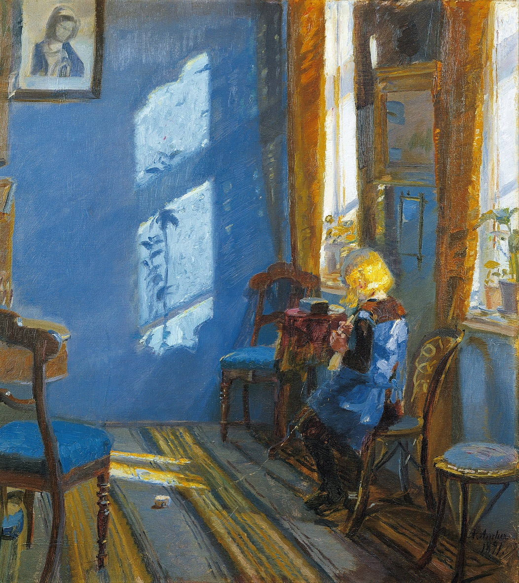 Sunlight in the blue room by Anna Ancher