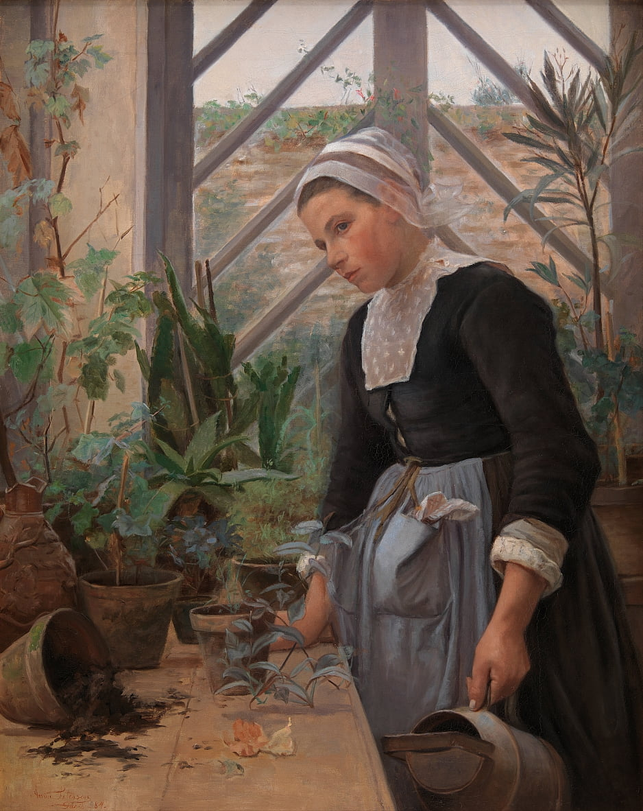 Breton Girl Looking After Plants in the Hothouse by Anna Petersen