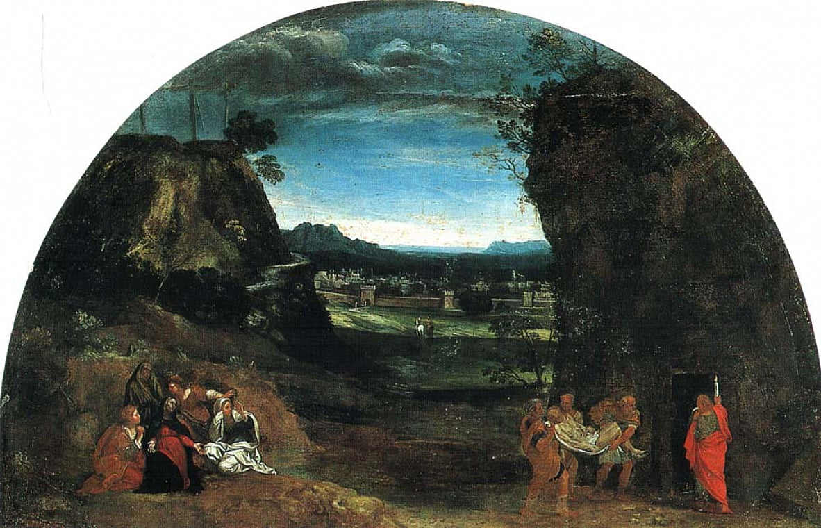 Lanscape with burial of Christ by Annibale Carracci