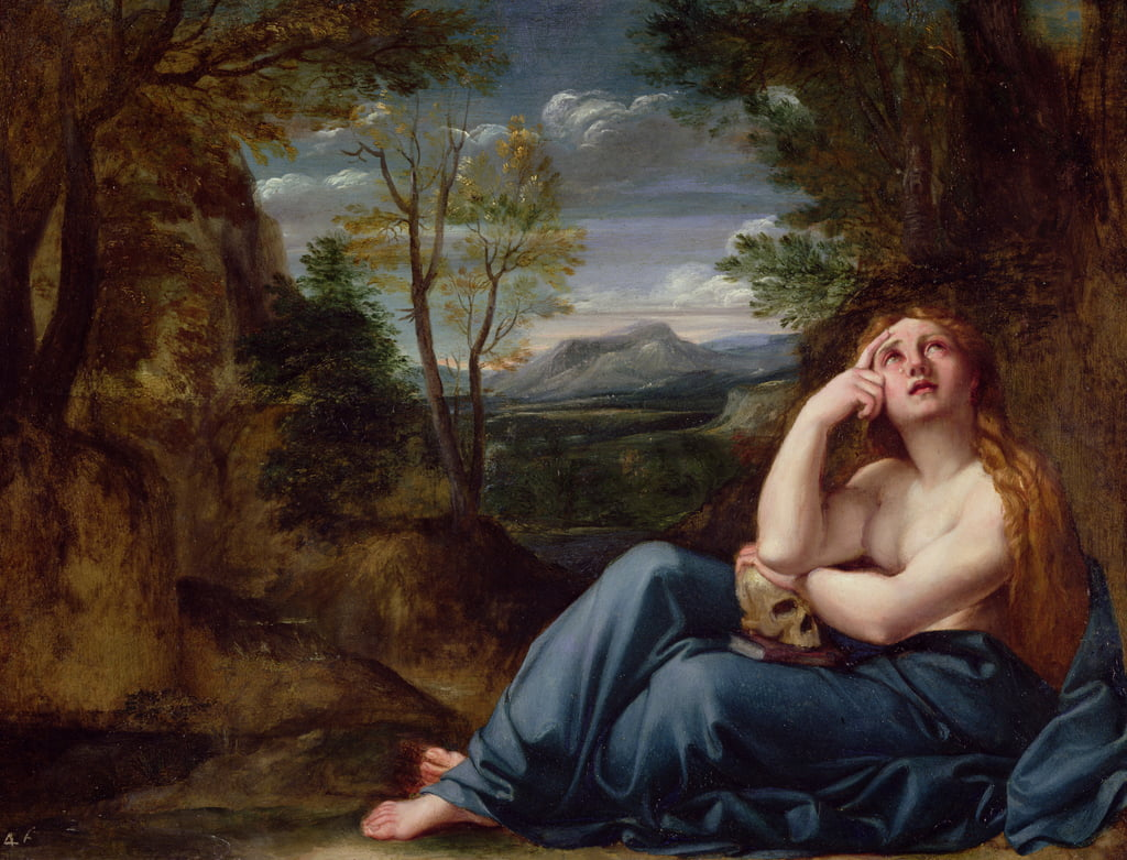 Mary Magdalene in a Landscape, c.1599 (oil on copper) by Annibale Carracci