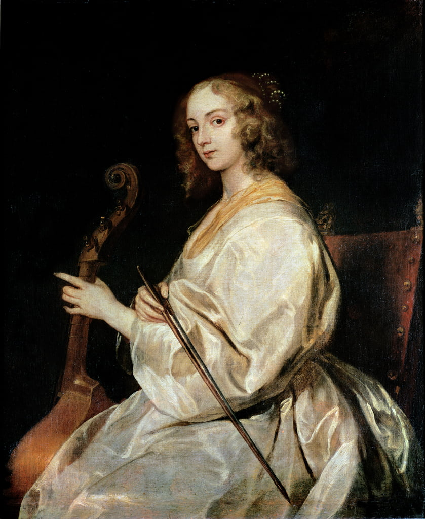 Young Woman Playing a Viola da Gamba  by Anthony van Dyck