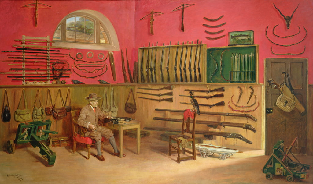 Sir Ralph Payne Gallwey in his gunroom at Thirkleby Hall, Yorkshire, 1914  by Anthony de Bru