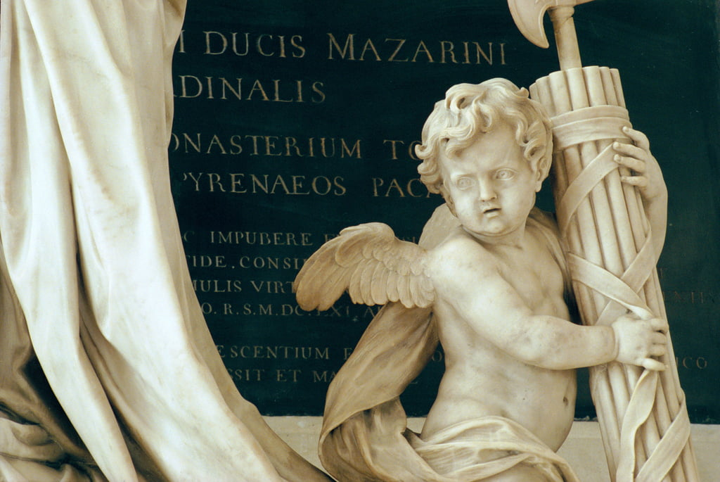 Detail of the tomb of Cardinal Jules Mazarin 1602-61 1689-93, in the Chapel marble and bronze by Antoine Coysevox