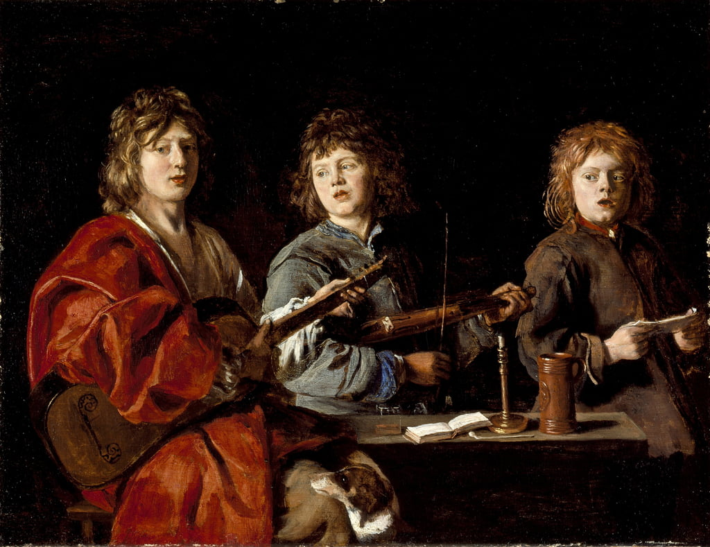 Three Young Musicians, c.1630 (oil on wood) by Antoine Le Nain