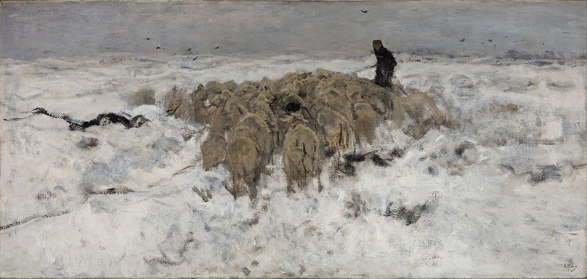 Flock of sheep with shepherd in the snow by Anton Mauve