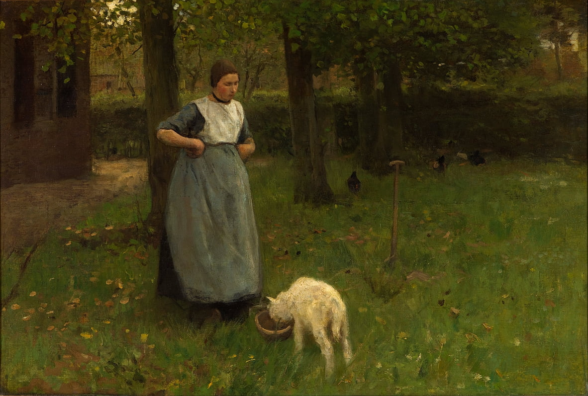 Woman from Laren with lamb by Anton Mauve