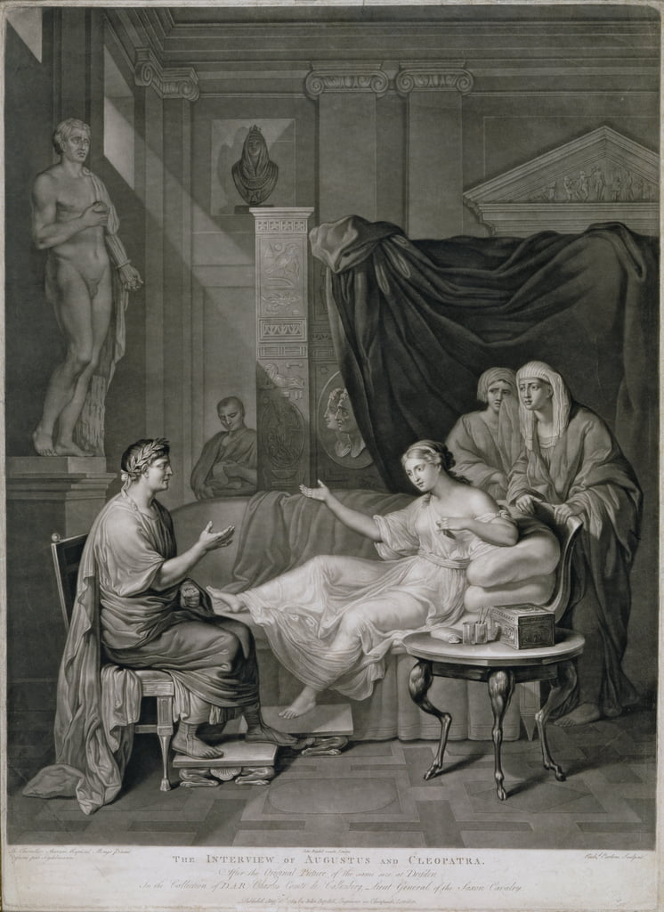 The Interview of Augustus and Cleopatra, engraved by Richard Earlom (1743-1822) published 1784  by Anton Raphael Mengs