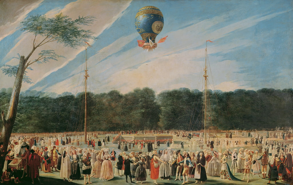 The Ascent of the Montgolfier Balloon at Aranjuez, c.1764  by Antonio Carnicero