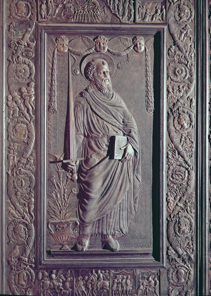 St. Paul, detail from the central door of the basilica, decorated 1439-45 (bronze) (see also 247330-247337) by Antonio Filarete