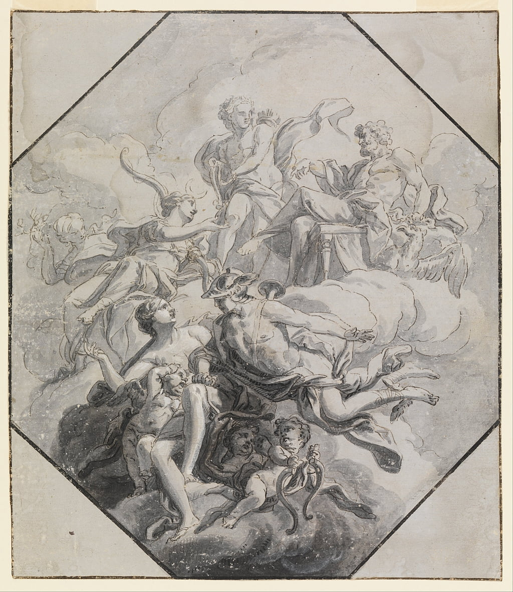 Design for a Ceiling Painting on Theme of Olympus by Antonio Manno