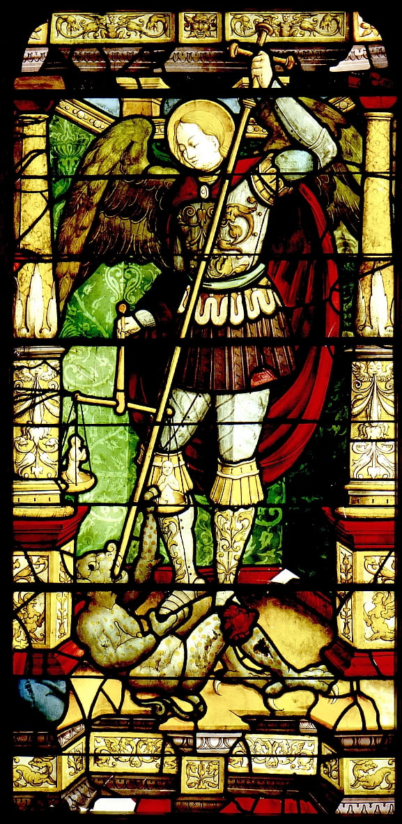 Stained glass with St. Michael Weighing Souls by Antonio da Pandino