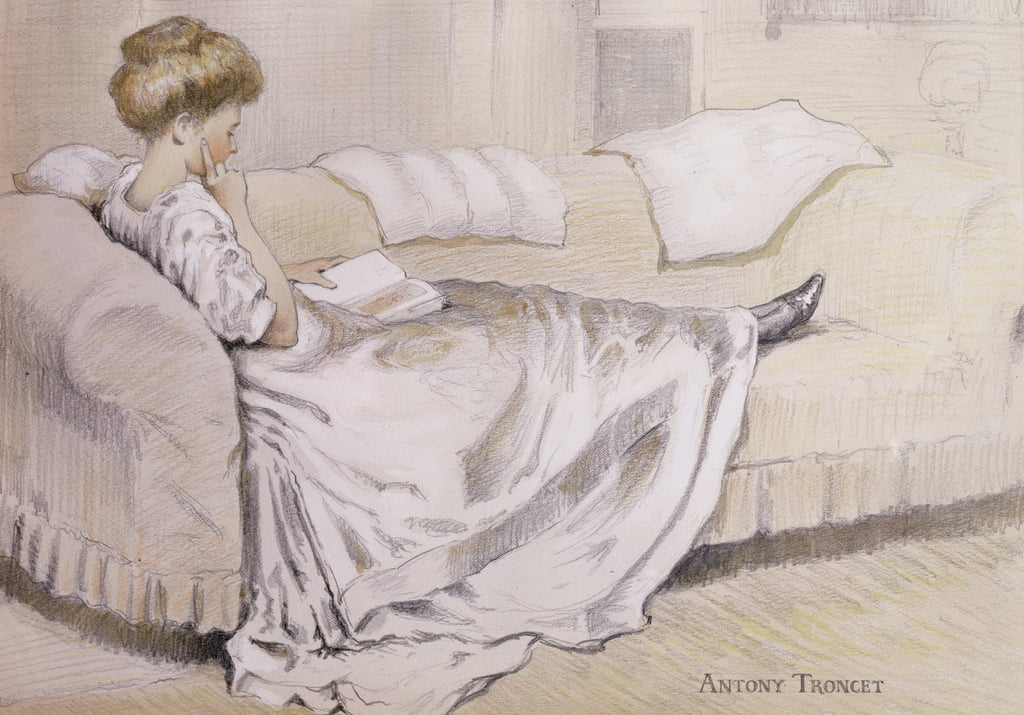 Girl Reading (pencil, wc and gouache on paper) by Antony Troncet