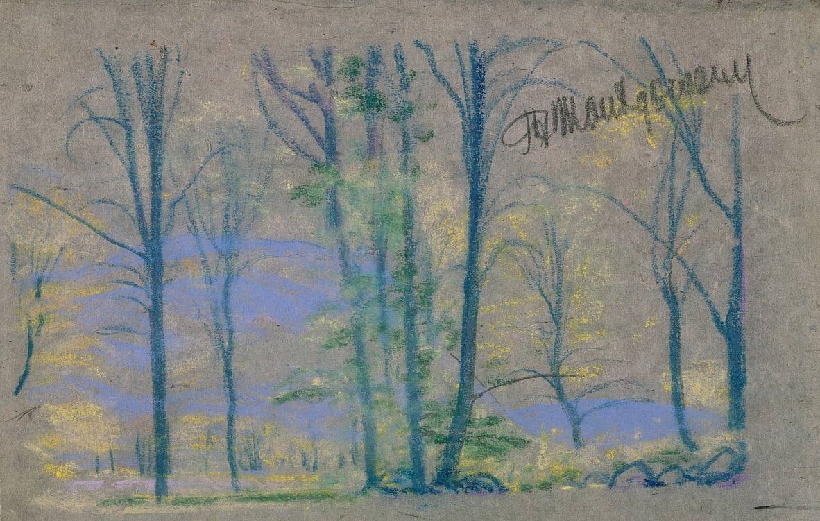 landscape with trees from A.B. Davies book, edition -23, 50 by Arthur Bowen Davies