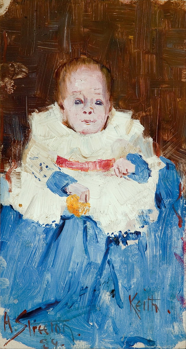 Orange, blue and white (portrait of Keith) by Arthur Streeton