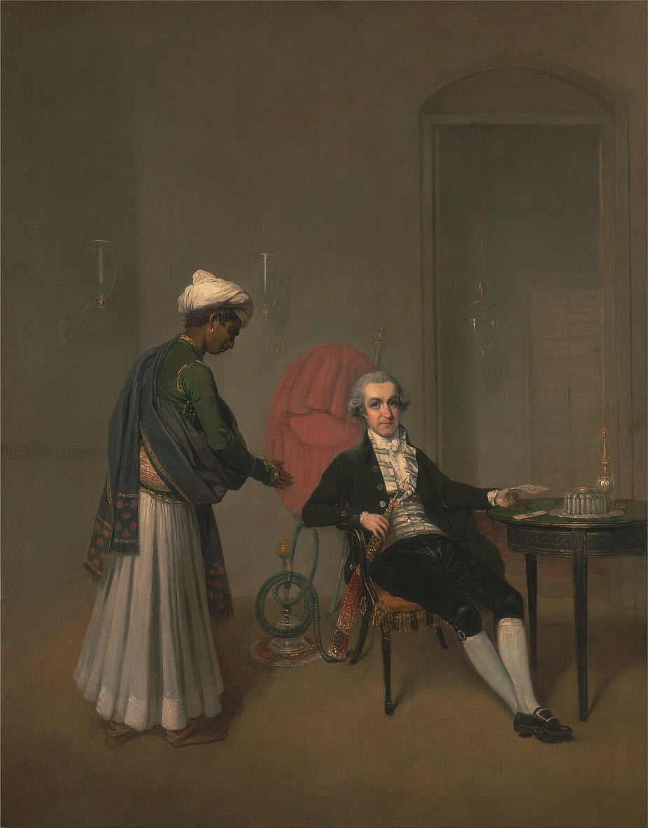 Portrait of a Gentleman, Possibly William Hickey, and an Indian Servant by Arthur Devis