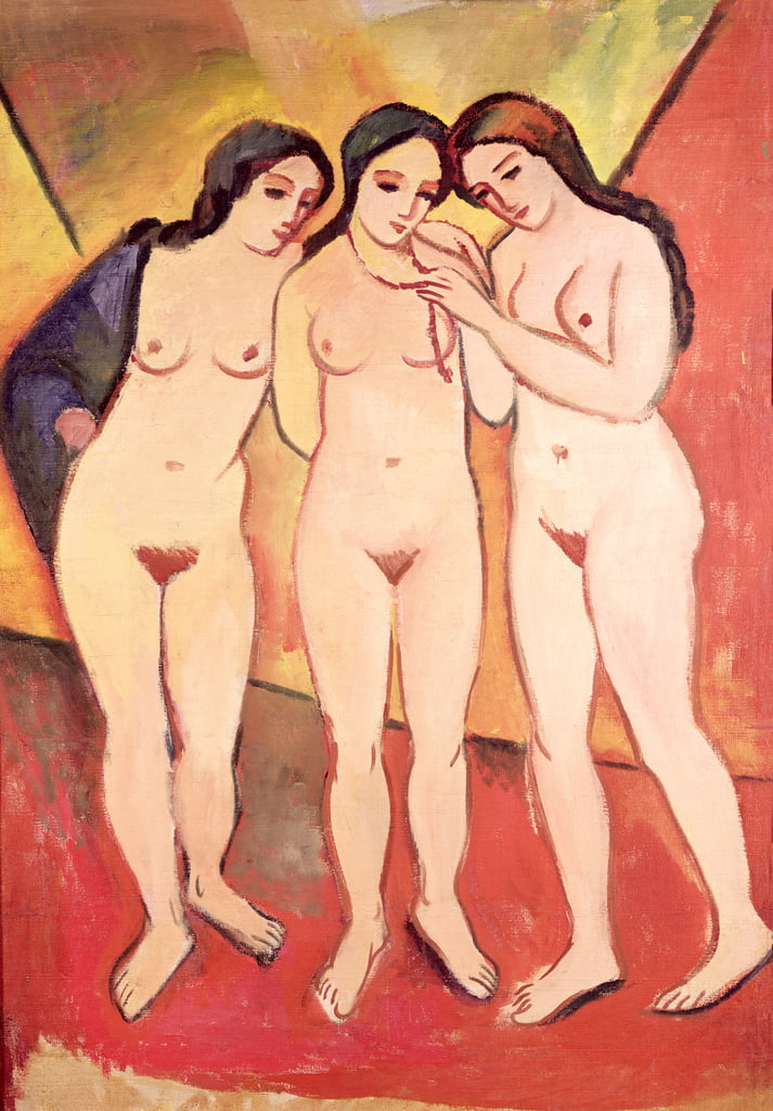 Three Naked Girls (red and orange) by August Macke