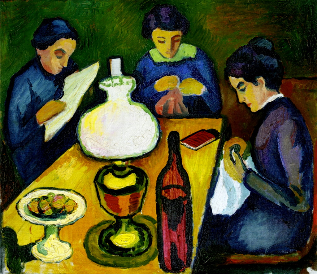 Three Women at the Table by the Lamp, 1912  by August Macke