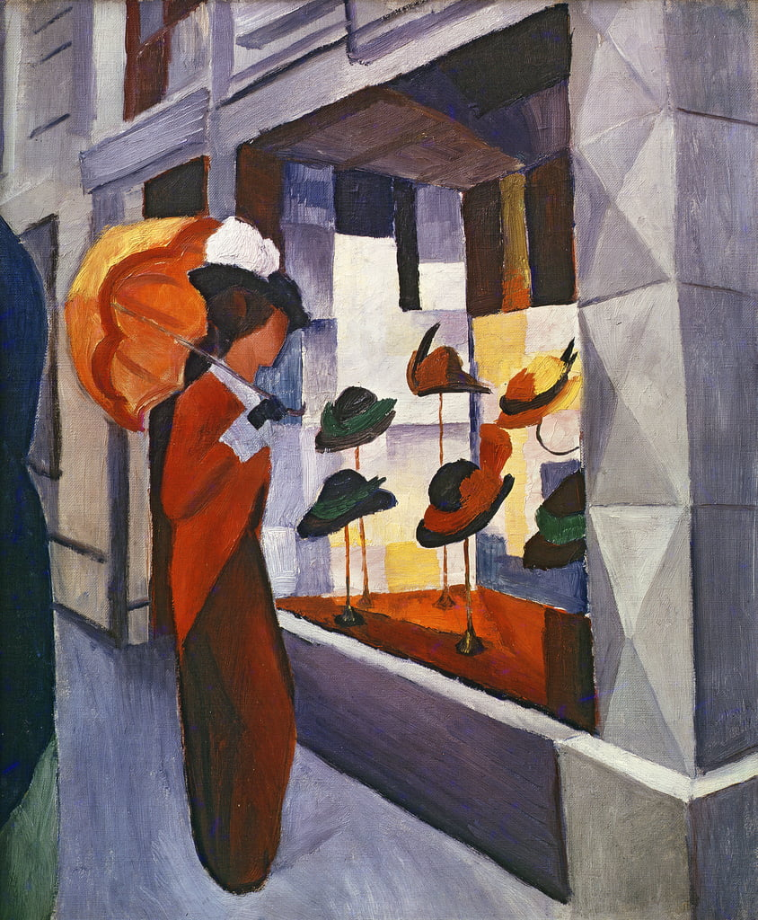 In front of the Hat Shop, 1914  by August Macke