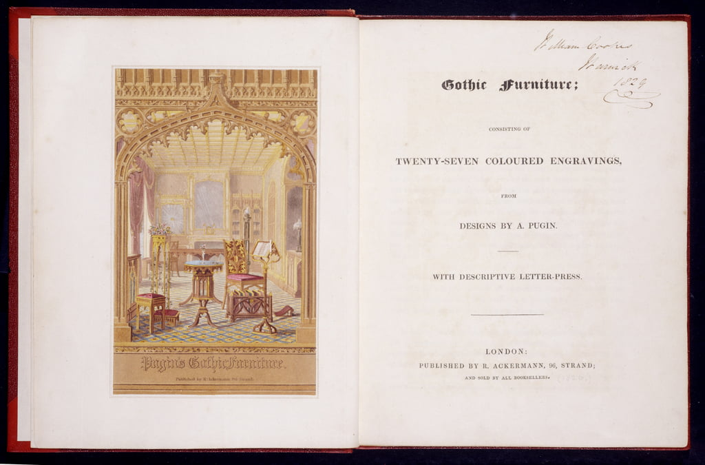 Title page and frontis piece of Gothic Furniture, Pugin, Augutus Charles (1762-1832), 1826 by Augustus Charles Pugin