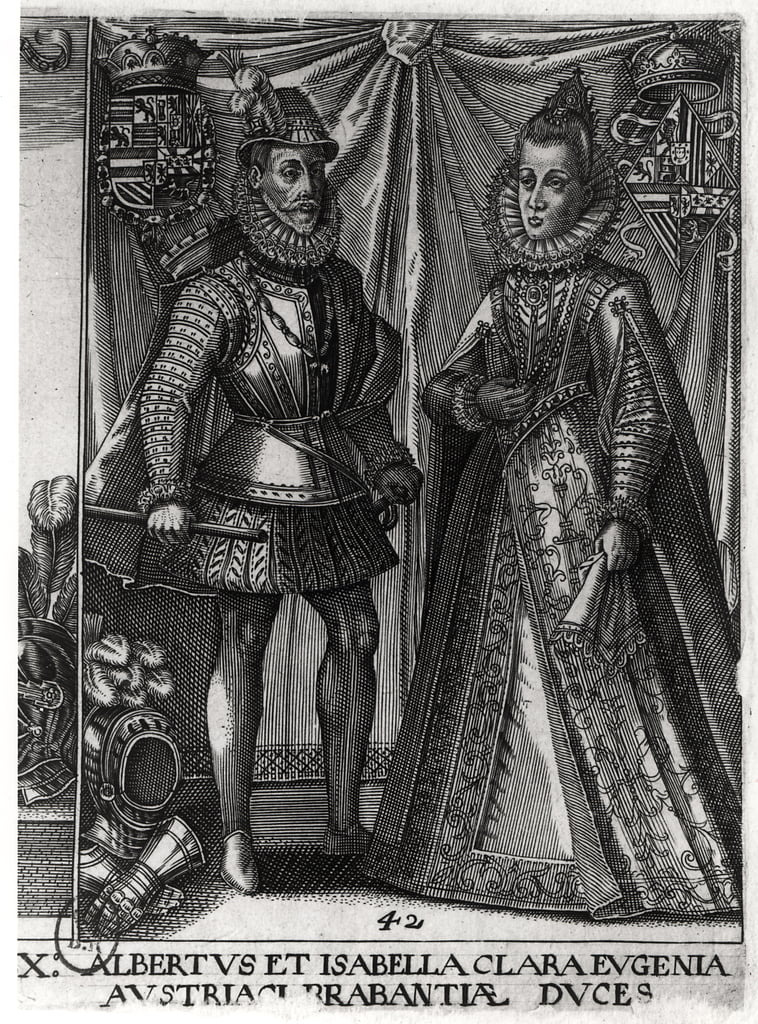 Portrait of Albert, Archduke of Austria (1559-1621) and his wife Isabella Clara Eugenia (1566-1633) Archduchess of Austria, 1613   by Austrian School