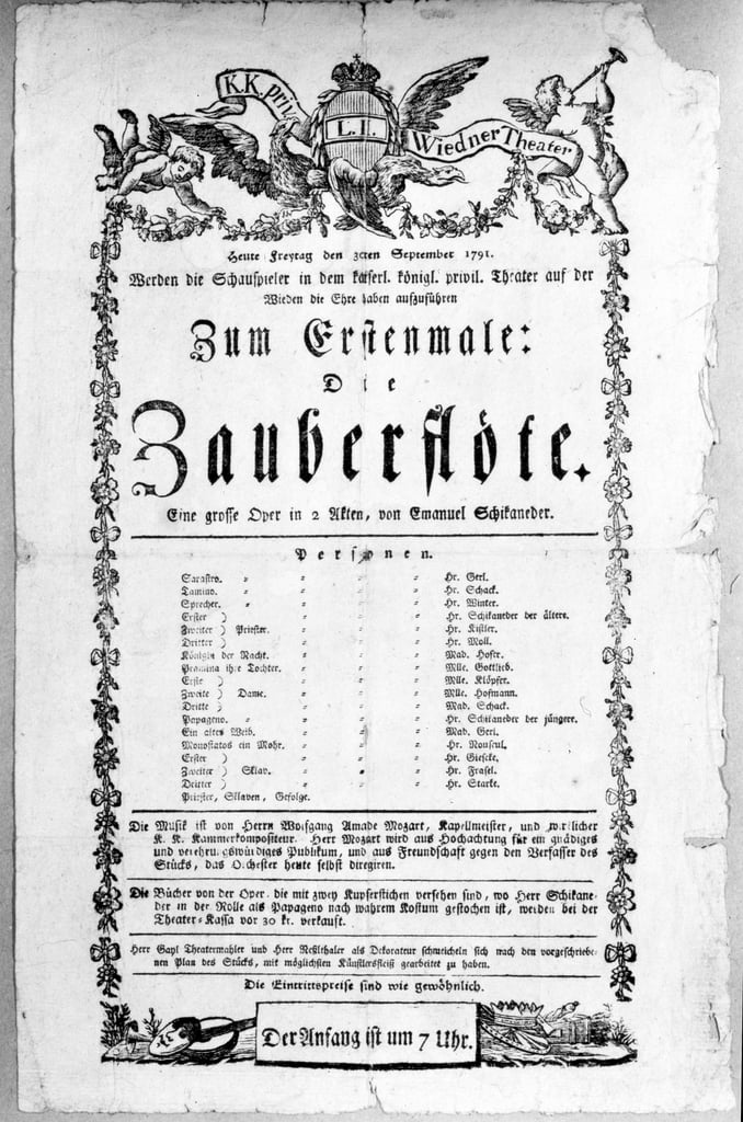 Poster advertising the premiere of `The Magic Flute