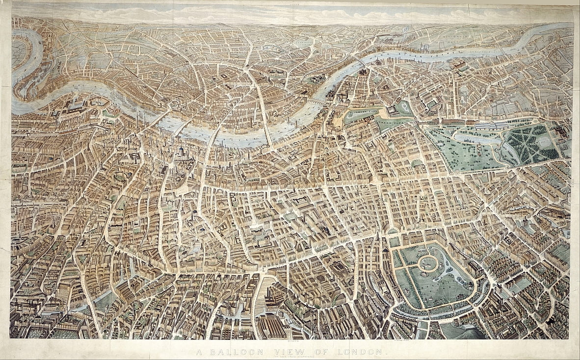 A Balloon View of London as seen from Hampstead by Banks and Co Effingham