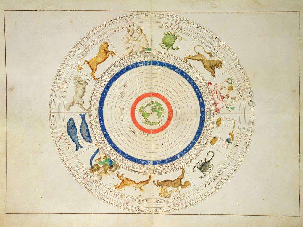 Zodiac Calendar, from an Atlas of the World in 33 Maps, Venice, 1st September 1553 (ink on vellum) by Battista Agnese