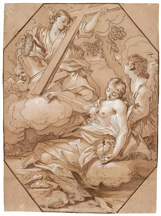 The Ecstasy of Saint Mary Magdalene, c.1715-19 (pen & ink with brown wash, heightened with white, with octagonal framing lines of brown ink on laid paper) by Benedetto Luti