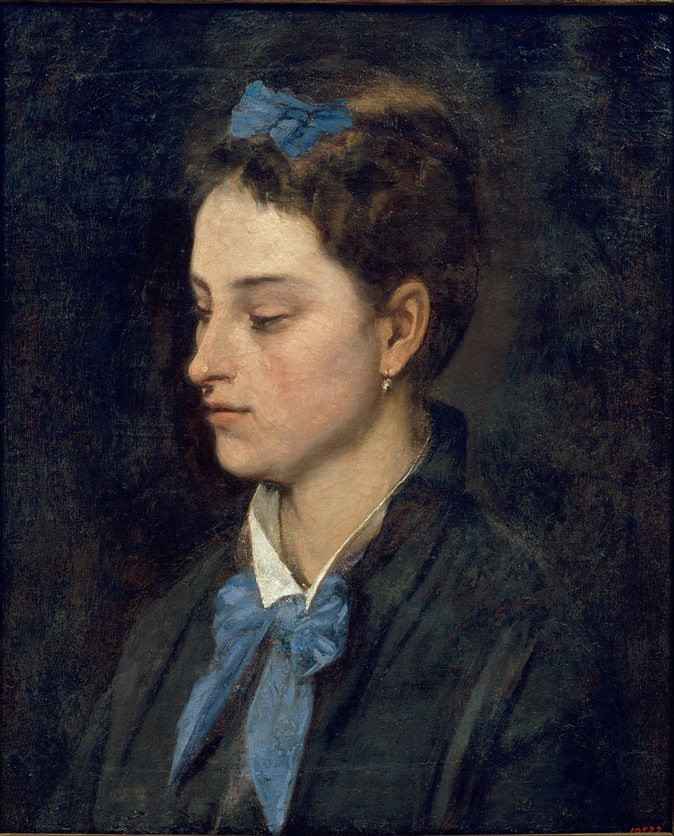 Portrait of Teresita Wearing Blue Bows by Benet Mercadé