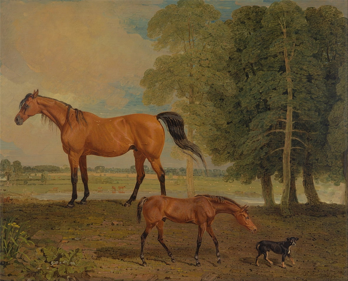 Broodmare with Foal, and a Terrier by Benjamin Marshall