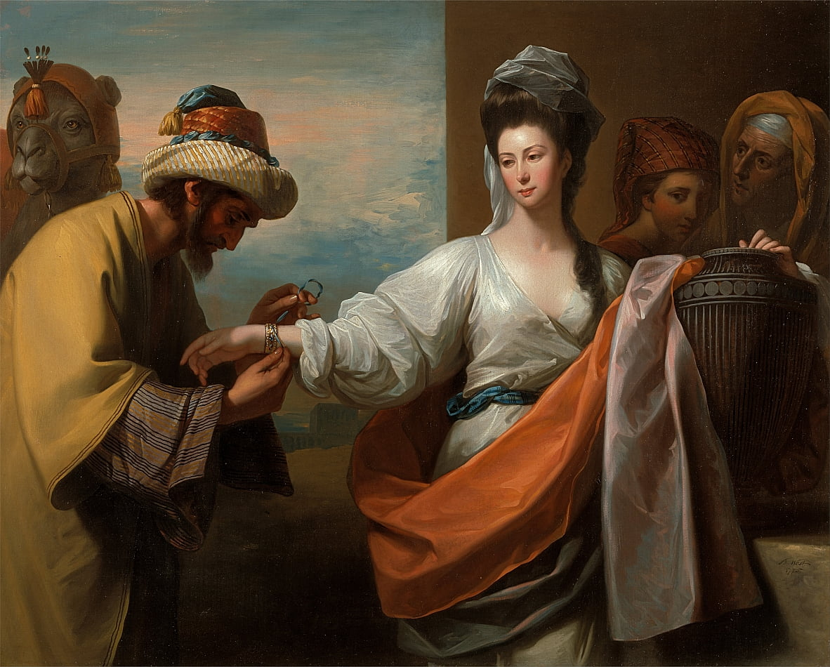 Isaacs servant tying the bracelet on Rebeccas arm by Benjamin West