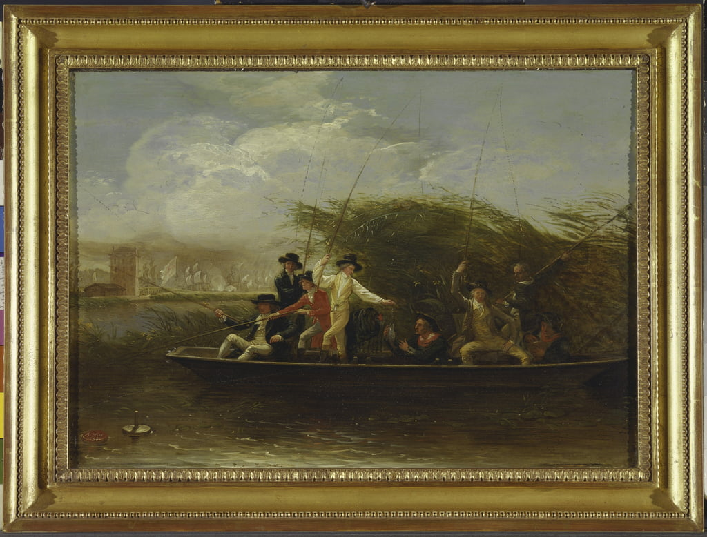 The Fishing Party - a Party of Gentlemen fishing from a Punt, 1794 (oil on slate) by Benjamin West
