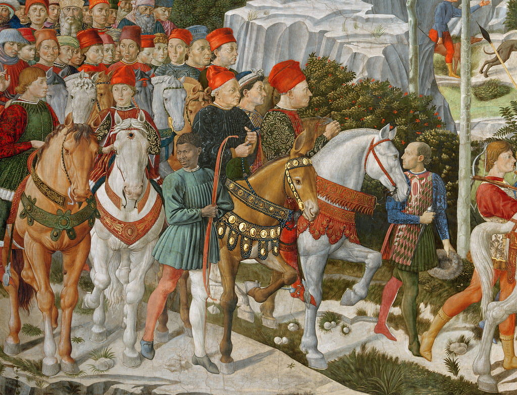 Galeazzo Maria Sforza, Duke of Milan (1444-76), extreme left, on a brown horse and Sigismondo Pandolfo Malatesta, ruler of Rimini (1417-68) beside him on a grey horse, detail from the Journey of the M by Benozzo di Lese di Sandro Gozzoli