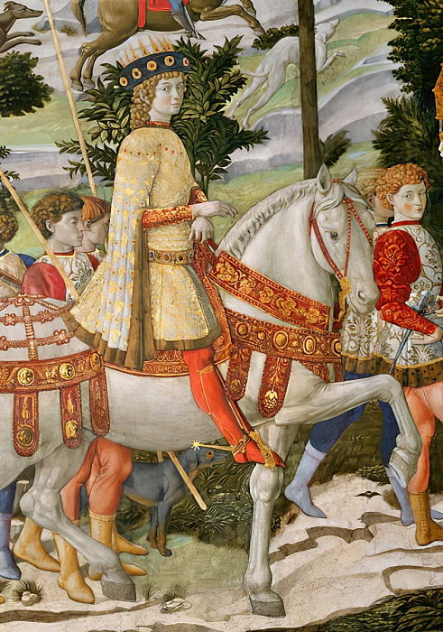 Lorenzo de Medici, the Magnificent 1449-92, as one of the Three Kings, detail from the Journey of the Magi cycle in the chapel, c.1460 fresco detail of 70619 by Benozzo di Lese di Sandro Gozzoli