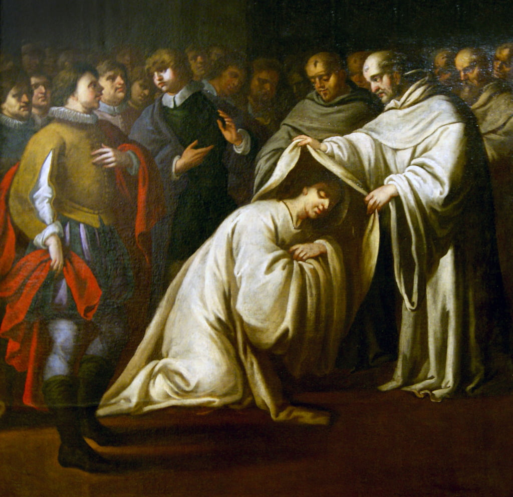 St Bernard of Clairvaux covering a man with robes. (oil on Canvas) by Bento Coelho da Silveira