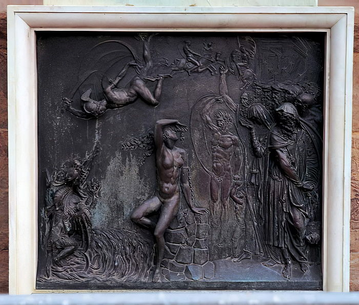 Plaque depicting Perseus rescuing Andromeda, 1545-55 (bronze) by Benvenuto Cellini