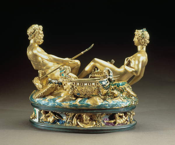 Salt cellar or Saliera, belonging to King Francis I of France depicting the earth and sea united represented by a female earth goddess and a male sea god, 1540-43 (gold and enamel) by Benvenuto Cellini