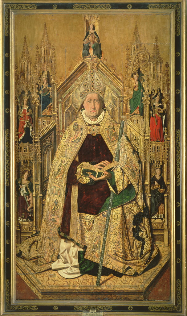 St. Dominic enthroned as Abbot of Silos, 1474  by Bartolomé Bermejo
