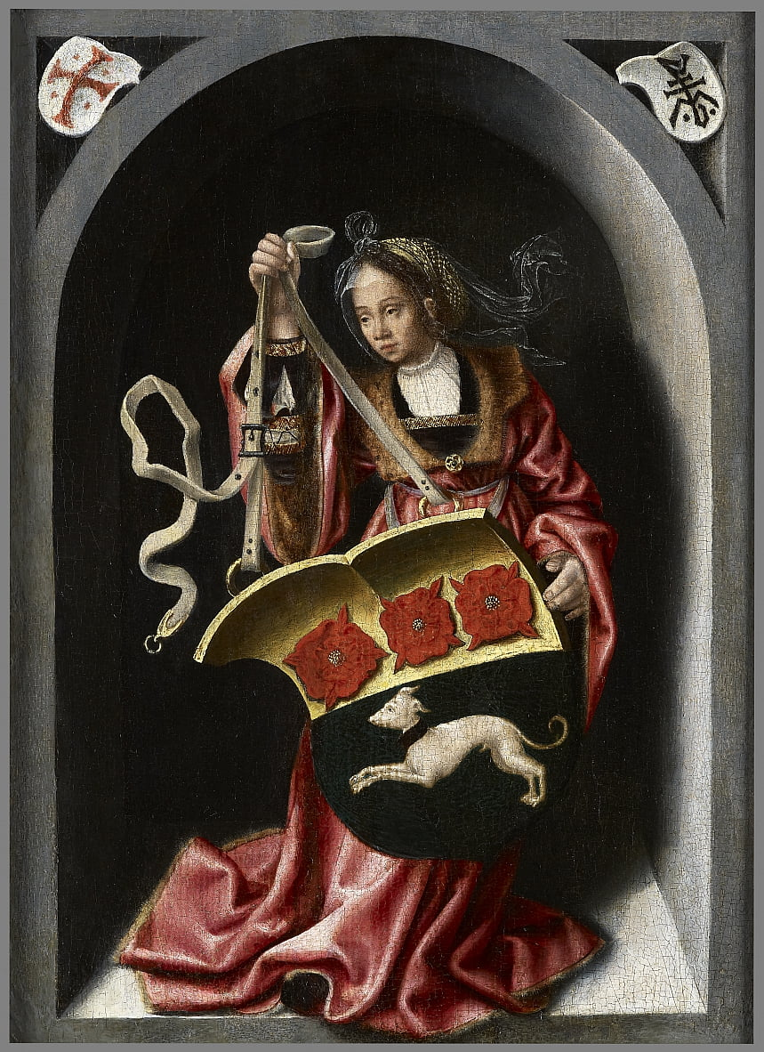 Lady holding an heraldic shield within a painted niche by Bernard van Orley