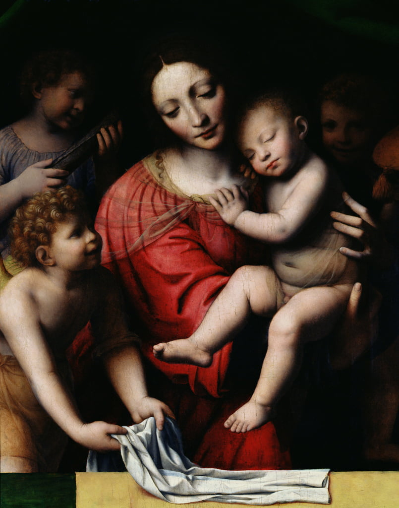 The sleeping Jesus, or Madonna holding the sleeping Child, accompanied by three angels, 1532  by Bernardino Luini